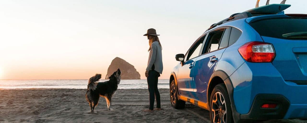 Frau mit Auto und Hund am Strand